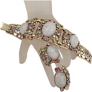 Vintage Selro Bracelet Earrings Cloud Glass Pastel Rhinestones Antiqued Goldtone