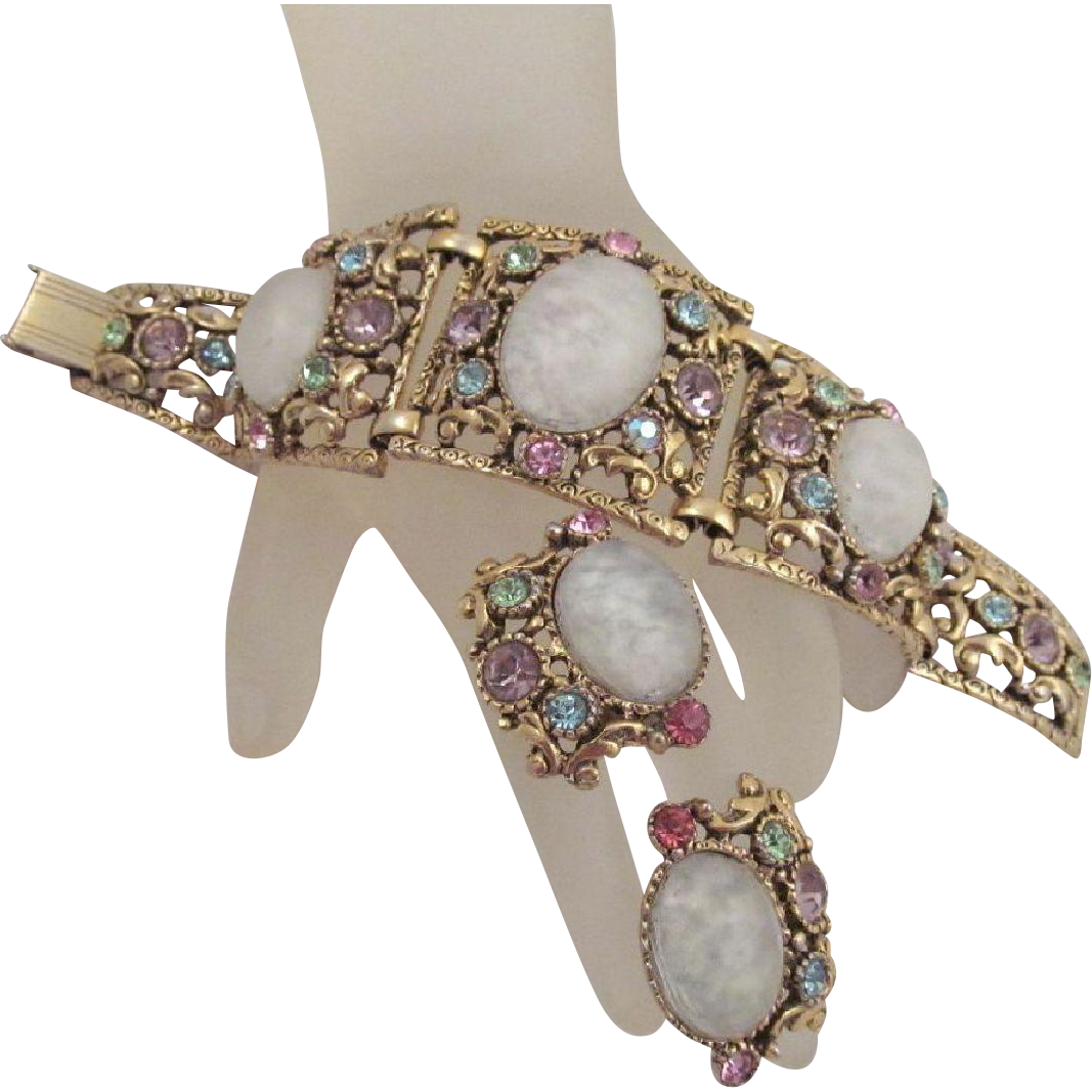 Vintage Selro Bracelet Earrings Cloud Glass Pastel Rhinestones Antiqued Goldtone