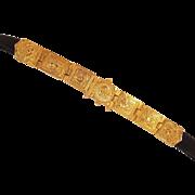 Vintage Alexis Kirk Vintage Etruscan Revival Belt Buckle Rich Goldtone