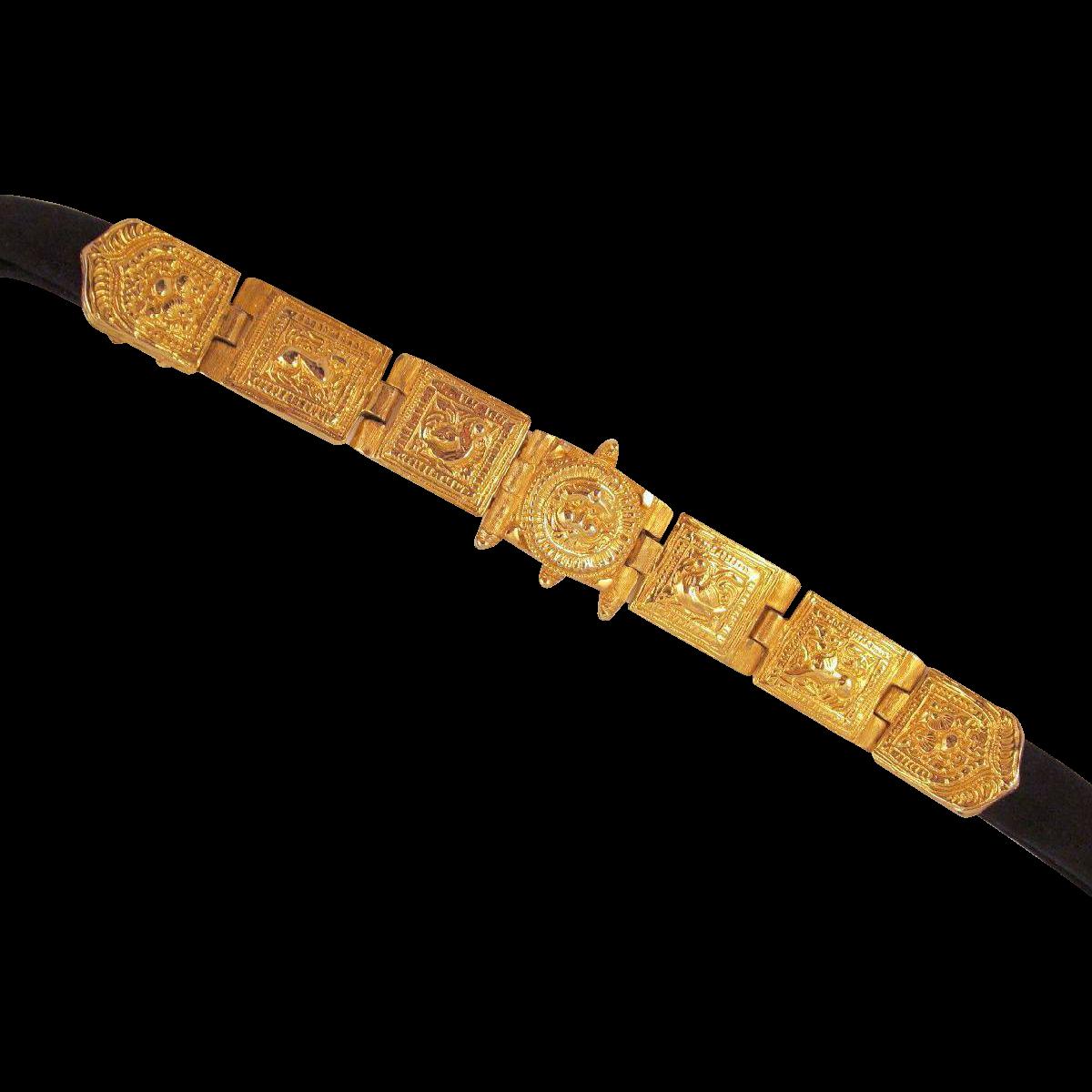 Vintage Alexis Kirk Etruscan Revival Belt Buckle Rich Goldtone