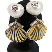 Ugo Correani Clamshell Earrings Vintage Rare Couture Lucite Faux Pearl Rhinestones