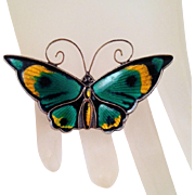 David-Andersen Large Multicolor Enamel Sterling Butterfly Brooch Vintage Guilloche Green Yellow Black