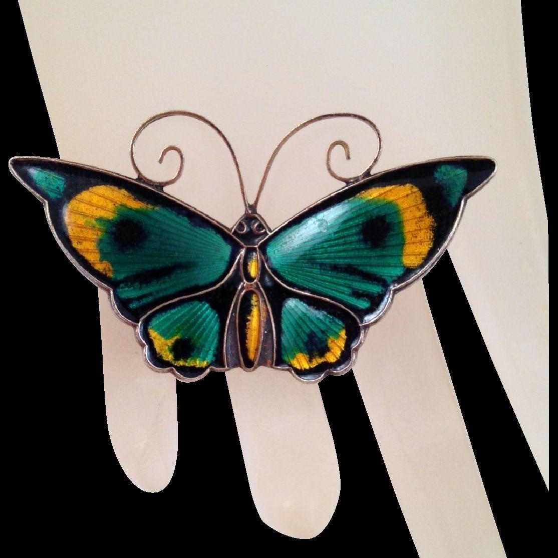 David-Andersen Large Multicolor Enamel Sterling Butterfly Brooch Vintage Guilloche Green Yellow Black