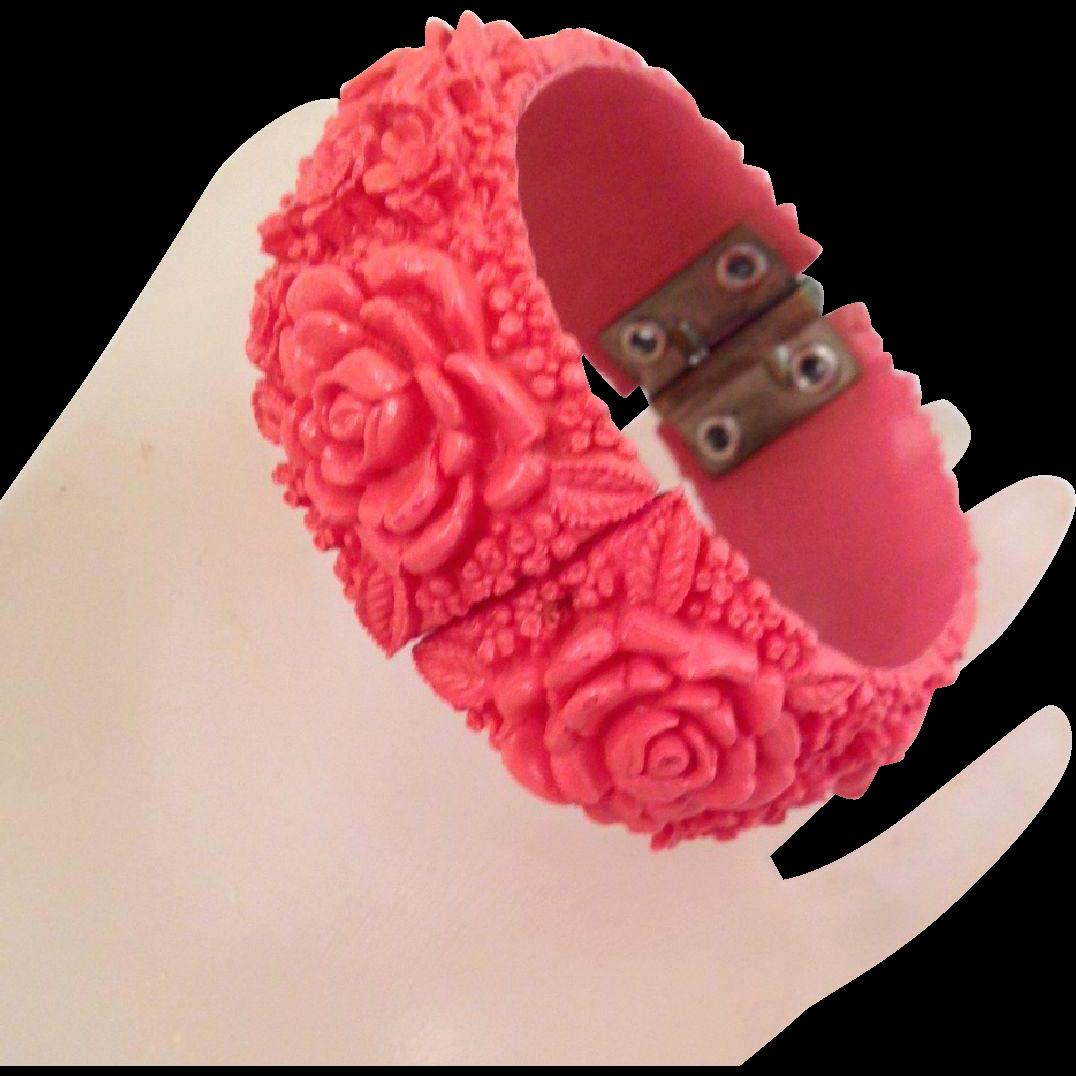 Vintage Salmon Pink Celluloid Clamper Bracelet Roses Forget-Me-Nots