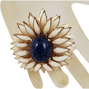 Vintage Ciner Enamel Brooch Faux Lapis Flower Layered Petals 80s Bling
