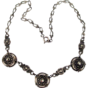 Germany Sterling Marcasite Choker Necklace Vintage Ornate Links Jugendstil Art Nouveau