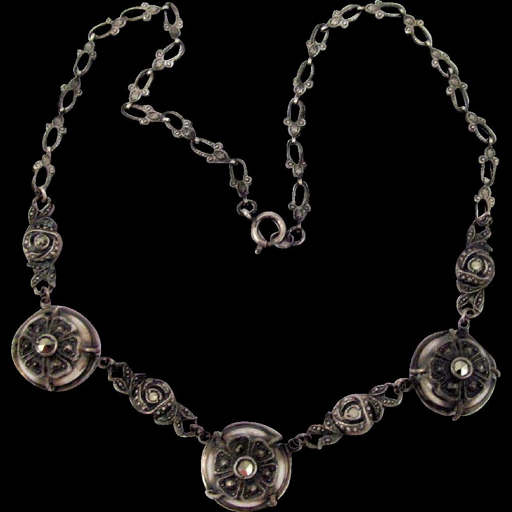 Germany Sterling Jugendstil Marcasite Choker Necklace Vintage Ornate Links