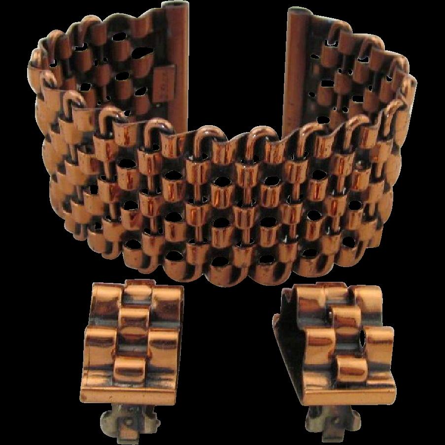 Vintage Renoir Copper Basketweave Cuff Bracelet Clip Earrings
