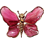 Vintage Hot Pink Poured Glass Butterfly Brooch Goldtone Pat Pending