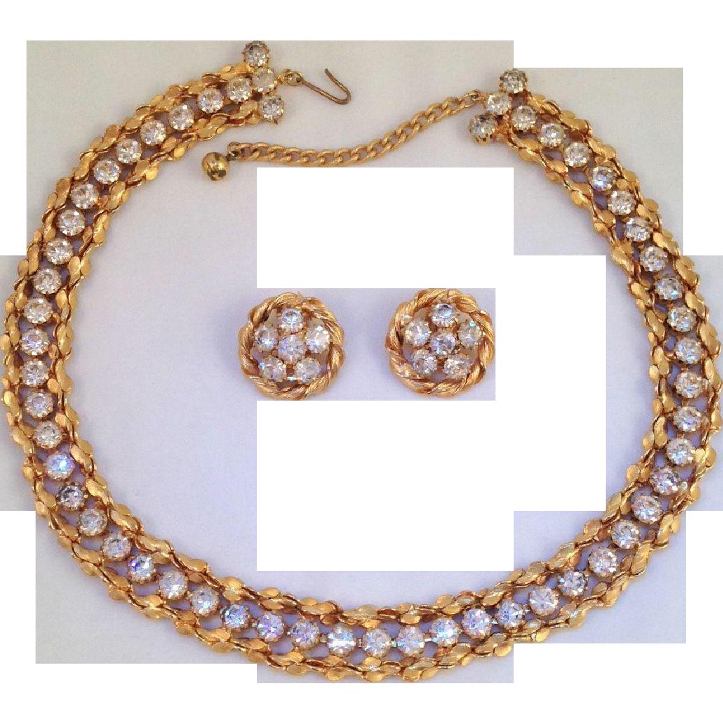 Jonne House of Schrager Rhinestone Necklace Earrings Goldtone Rare Vintage