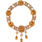Rare Ricarde of Hollywood Necklace Topaz Rhinestones Vintage 1940s 'Juarez'