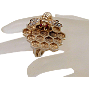 Rare Vintage Boucher Bee Ring Insect Rhinestones Gold Plated Honeycomb
