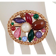 Austria Art Glass Brooch Colorful Cabochons Oval Goldtone Rope Edge