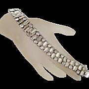 Vintage Eisenberg Bracelet Silvertone Baguette Triple Row Clear Stones