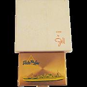 Vintage Souvenir Compact Delta Cruise Ship Zell Gold Green Enamel