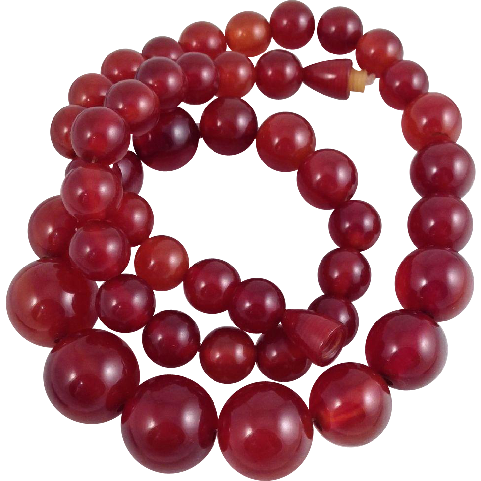 Cherry Amber Bakelite Beads Necklace Translucent Red Graduated Size Unfaceted