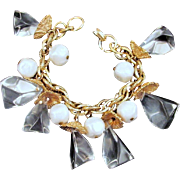 Icy Lucite Charm Bracelet Vintage Faux Pearls Goldtone Shell Caps