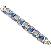 Trifari Imitation 'Chalcedony' Fruit Salad Bracelet Vintage Blue Glass Acorns Silvertone