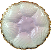 Antique Porcelain Oyster Plate Lilac Pastel Gilded White Six Wells Embossed