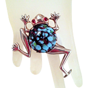 Tree Frog Brooch Unsigned Vintage Sterling Silver Mottled Art Glass Cabochon