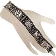 900 Silver Turkish Panel Bracelet Vintage Turquoise Blue Glass Stones