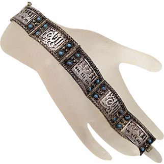 900 Silver Turkish Panel Bracelet Vintage Turquoise Blue Glass Stones