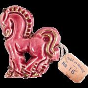 Doliet France Horse Brooch Pink Ceramic Brass Vintage Ca. 1940