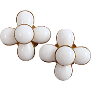 Phillipe Ferrandis White Earrings Glass Cabochons Vintage 1990s