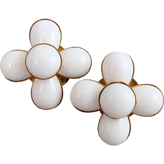 Phillipe Ferrandis White Earrings Glass Cabochons Vintage 1990s