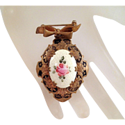 Brooch Locket Guilloche Rose Yellow Pink Black Enamel