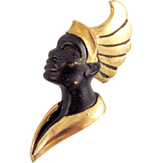 Striking Female Blackamoor Brooch Black Gold Metal Vintage