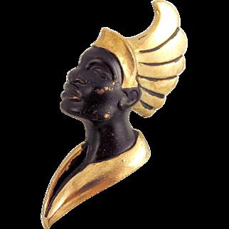 Striking Female Blackamoor Brooch Black Gold Metal Vintage