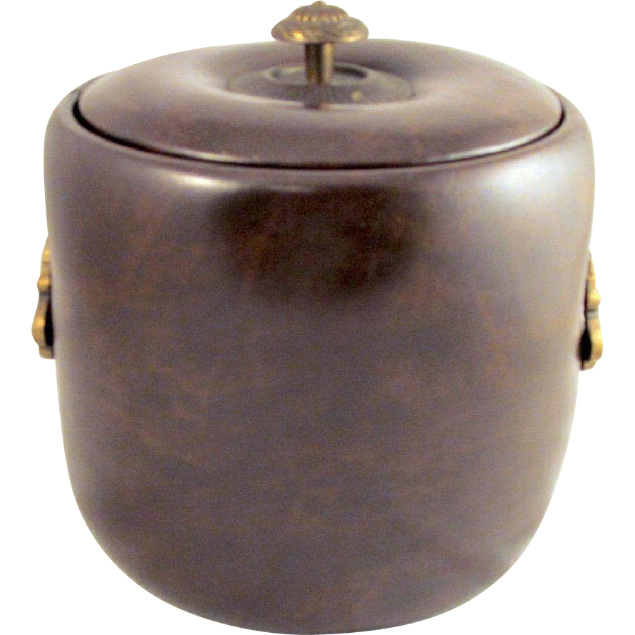 Vintage Elmar Brown Ice Bucket Vinyl Puffy Naugahyde Faux Leather