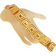 Les Bernard 1980s Goldtone Bracelet Geometric Links