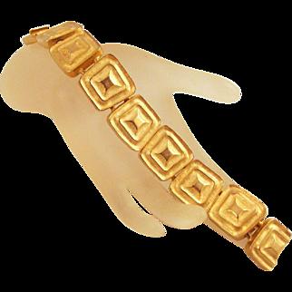Les Bernard 1980s Goldtone Bracelet Geometric Links