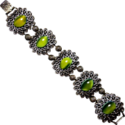 Tortolani Bracelet Olive Green Oval Glass Cabochons Silvertone Filigree Scrolls Vintage