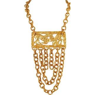 Runway Goldtone Necklace Swags Chains Horses Fighting Vintage 1980s