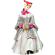 Florence Ceramics Vintage Camille Figurine Fuchsia Trim Grey Dress Gold Muff