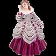 Vintage Florence Ceramics Amelia Figurine 1951 Pannier Hoop Grey Fuchsia Pink Green