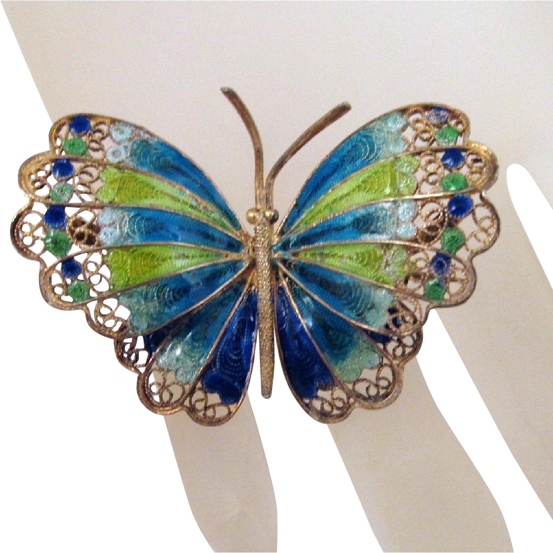 Vintage Italy Plique-a-Jour 800 Silver Filigree Goldwash Butterfly Blue Green