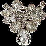 Eisenberg Rhinestone Brooch Silvertone Vintage Teardrop Baguette Marquise Clear Stones
