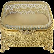 "Vintage Brass & Beveled Glass Jewelry Box Casket 4.5"" x 4.5"" x 2.75"" tall"
