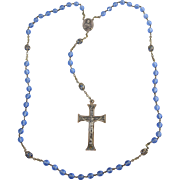 "Vintage Italian Blue Faceted Crystal Glass Rosary Beads w/Silver tone 2 1/8"" Crucifix, Italy"