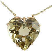 Large Vintage Heart Shaped Citrine 30+ Carats Custom Made 14K Pendant w/Chain Necklace