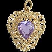 "Vintage 14k Gold Filigree & Amethyst Heart Shaped Pendant or Charm 7/8"" x 3/4"", 2.5 grams"
