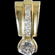 Vintage 14k Gold Enhancer Pendant w/6.5mm CZ 3.7 grams