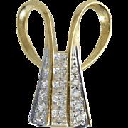 14K Gold Pendant Enhancer w/15 CZ stones Large & Impressive!
