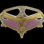 Gorgeous Large Vintage Matson Ornate Gilt Metal Jewelry Box Casket w/Beveled Glass
