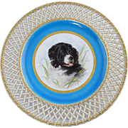 """Rare c1875 Minton Landseer """"Newfoundland Dog"""" Hand Painted Plate Signed by Henry Mitchell with Lattice Border Antique"""