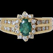 Vintage 14k Gold Emerald & Diamond Ladies Ring sz 5.75